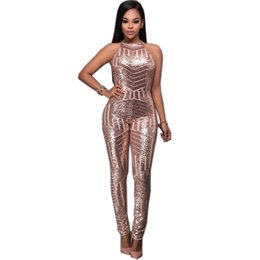 Barato Jumpsuits De Glitter-Best Selling macacao feminino Fashion Backless Sexy Manga sem mangas Popular Glitter Sequined Geométrico Keyhole Back Catsuits