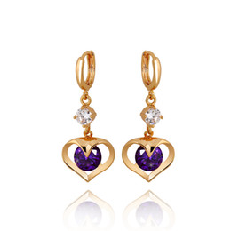 $enCountryForm.capitalKeyWord UK - 2017 New Fashion Party Wedding Jewelry Yellow Gold Plated CZ Created Purple Amethyst Heart Dangle Earrings for Bridal Hot Gift