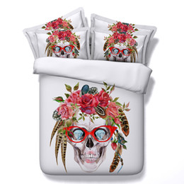 China Skull New Fashion 3D Bedding Sets 4pcs Comforter Sets Tiwn Full Queen King Size Duvet Cover Bed Sheet Pillowcases cenery supplier floral bedding suppliers
