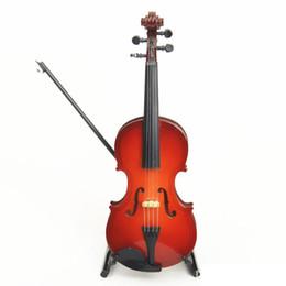 Venta al por mayor de Envío gratis Mini instrumento de madera Decoración de violín Mini juguete de violín de madera 14 cm