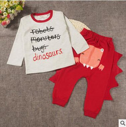 Barato Bebê, Roupas, Menino, Pedaços-Baby Outfits 2017 Summer Dinosaur Design Boys Vestuário Conjuntos Two Piece Suit Infant Toddler Cotton Outwear Conjuntos Ins Baby Boys Girls Clothes