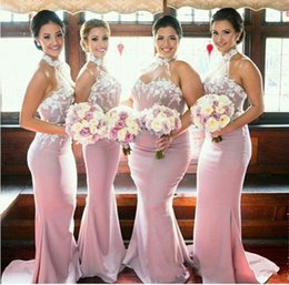 Robes D'honneur Invités De Mariage Pas Cher-Hot Sale Pink Mermaid Bridesmaids Dresses Appliques 3D Sheer Halter Neck Wedding Dress Invité Longueur de plancher Maid Of Honor Robes Custom