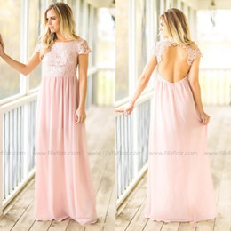 55c0aa58aa8 Modest Country Western Long Bridesmaid Dresses 2017 Pink Jewel Neck Cap  Sleeves Open Back Lace Top A Line Chiffon Wedding Party Formal Wear