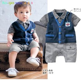 Barato Calções Azuis Dos Meninos-Verão New Baby Boys Rompers Gentleman Blue Plaid Infant One pieces Short Sleeve Jumpsuits Overalls Toddler Clothes 13281