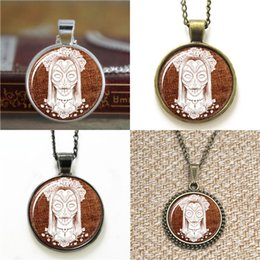 Sugar SkullS online shopping - 10pcs Sugar Skulls inspired Glass Photo Necklace keyring bookmark cufflink earring bracelet