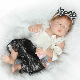 """Kids Silicone Baby Canada - 23"""" Full Silicone Art Dolls Realistic Reborn Baby Girl Newborn with Pink Outfits Kids Houseplay Toys"""