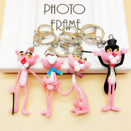 panther chain Australia - Pink Panther Keyring Key Buckle Cute Key Chains Pendant Vinyl Doll Key Ring Figures Collection OOA3312