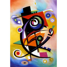 Discount kandinsky landscape paintings - Hand Painted abstract paintings Wassily Kandinsky homage to kandinsky art oil canvas High quality home decor