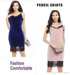 harness dresses Canada - Female Sexy Lace Stitching Velvet Harness Dress Package Hip Pencil Dresses V-Neck Slim Pencil Party Dress