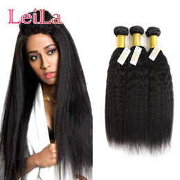 Coarse hair bundles online shopping - Cheap Indian Unprocessed Human Hair Kinky Straight Bundles Coarse Yaki g Pieces One Hair Extensions Wefts