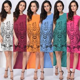 Hi Lo Dress Print Canada - Casual Sleeveless Summer Dresses Hi-Lo Printing Dress Women Clothing Elegant Letter Eagle Animal Print Plus Size