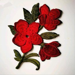 Chinese Jacquard Bedding NZ - 1PC Red Rose Blossom Flower Applique Clothing Embroidery Patch Fabric Sticker Sewing Repair Embroidered 11*8cm [1inch = 2.54cm or 1cm = 0.39