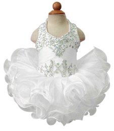 $enCountryForm.capitalKeyWord Canada - Pageant Cupcake Dress For Baby Girls Halter Colorful Beaded Mini Gown Toldder Princess Ruffles Tutu Dress Infant Girls Short Beautiful Dress
