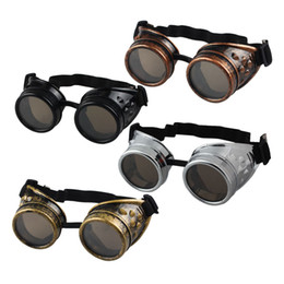 Discount victorian sunglasses Wholesale-Hot Unisex Vintage Victorian Style Steampunk Goggles Welding Punk Glasses Cosplay Glasses Sunglasses Men Women