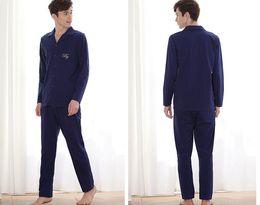 Ventas directas de fábrica otoño nuevas parejas cardigan mangas largas tejer hombres modal algodón pijamas-803