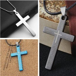$enCountryForm.capitalKeyWord Canada - 2018 Fashion Creative Three Colors of Jesus Cross Letters Titanium Necklace Korea Wax Lines Necklace XCC02