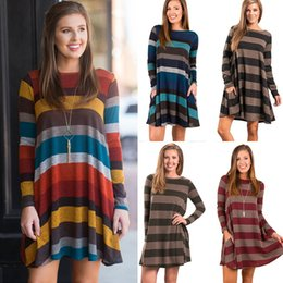 $enCountryForm.capitalKeyWord Canada - Euro style women skirts for autumn lady casual dresses girls colorful striped dresses with round neck and long sleeve design OL-8803