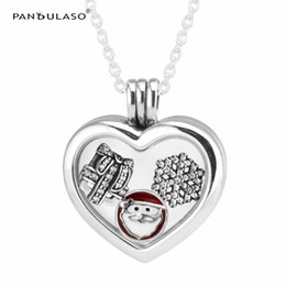 Discount pandora snake chain necklace - Christmas Wonder Petites Medium Floating Locket Pendant Necklaces Sterling silver jewelry DIY Choker Fit pandora charms