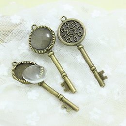 $enCountryForm.capitalKeyWord NZ - Sweet Bell Antique Bronze Metal Alloy Keys 25*71(Fit20mm Dia) Round Pendant Cabochon Settings+Clear Glass Cabochons A4215-1