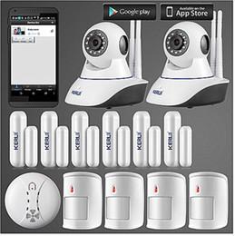 Venta al por mayor de LS111- KERUI 720P Cámara IP WiFi Home Firelar Sistema de alarma contra incendios PIR Detectores de movimiento + puerta abierta recordar sensor + anti-pet detector pir