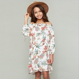 Barato Off Ombro Primavera Vestidos-2017 Big Baby Girls Print Vestidos florais Junior Fashion Off-shoulder Dress Adolescente Spring Vestido casual roupas infantis