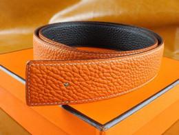 Brown leather Belt Buckle online shopping - New Fashion Men Business Belts Luxury Ceinture Smooth Gold Silver Buckle Genuine Leather Belts For Men Waist Belt