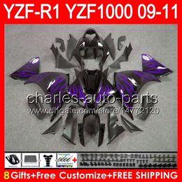$enCountryForm.capitalKeyWord Canada - 8gifts Body For YAMAHA YZFR1 09 10 11 YZF-R1 09-11 purple flames 95NO63 YZF 1000 YZF R 1 YZF1000 YZF R1 2009 2010 2011 gloss black Fairing