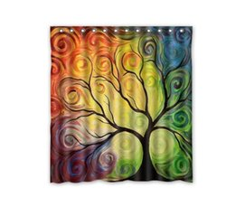 curtain painting UK - Customs 36 48 60 66 72 80 (W) x 72 (H) Inch Shower Curtain Oil Painting Tree Polyester Fabric Shower Curtain