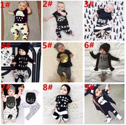 Wholesale INS Baby Clothing Kids Toddler Suits design Infant Casual Short Long Sleeve T shirt Pants Sets Children Outfits Clothes Fox Stripe Letter