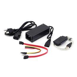 "sata ide hard drive adapter 2019 - Wholesale- USB 2.0 to IDE SATA S-ATA 2.5 ""3.5"" HD HDD Hard Drive Adapter Converter + Power Cable OTB US Plug P"