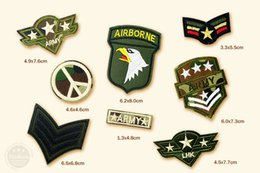 Fournitures De Broderie Pas Cher-8pcs / lot AIRBORNE US ARMY LHK Cartoon Badges Brodé Broderie Patch Applique Vêtements Vêtements Articles de couture Décoratifs Patches