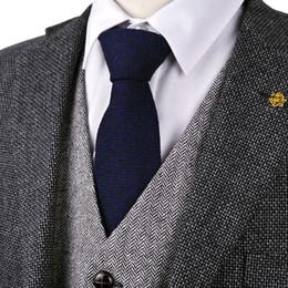Solid Navy Blue Ties NZ - Free Shipping H42 Herringbone Tweed Solid Navy Blue 7cm Wool Mens Ties Neckties Wholesale Casual Formal Business Brand New