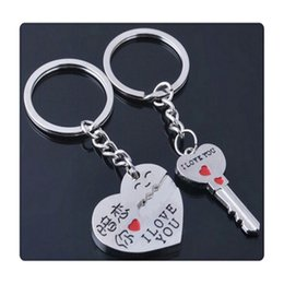 love heart cartoon couple NZ - 2017 New Key Ring My Heart Love Keychain Cupid Arrow Couple Key Chain Lovers Pendant Key Rings Chain High Quality Free DHL