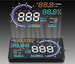 Car Heads Up Display Canada - New Brand 5.5 Inch A8 Car HUD Auto Head-Up Display Projector OBD2 II Vehicle Speeding Warning MPH + Anti-slip Pad Fuel Speedometers