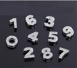 $enCountryForm.capitalKeyWord Canada - 10pcs 8mm silver with rhinestone Slide numbers beads DIY Accessories Fit Pet Collar Wristband belt keychain phone strips