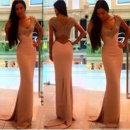 Barato Vestidos De Baile De Lantejoula Sexy E Lantejoulas-Sexy V Neck Mermaid Prom Dresses 2017 Sequins brilhantes Beaded Vestidos de noite formal Sweep Train Long Vestido de ocasião especial