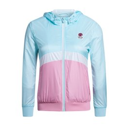 Barato Jaqueta Jaqueta Xxl-Atacado- XTEP Casacos de esporte feminino O-neck Zipper Windbreaker Quick Dry Light Roupa de sol Athletic Fitness Sports Suits 985128120638