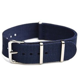 Nato Watch Straps Wholesale Canada - Wholesales 18mm 20mm 22mm Navy Blue Canvas Nylon Military Nato Watch Strap Band