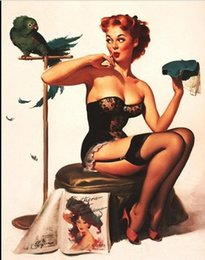 $enCountryForm.capitalKeyWord NZ - Framed GIL ELVGREN Parrot feather hat,Pure Handpainted Pinup Girl Art Oil Painting On Quality Canvas Multi Sizes Free Shipping Pin059