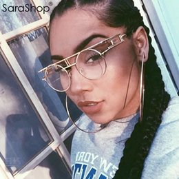 EyEglassEs shops online shopping - SARA SHOP NEW punk style eyeglasses frames Clear lens glasses Round Metal Frame Sun Glasses Pink Mirror Eyewear A628