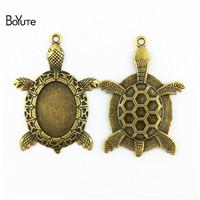 18mm bezel Australia - BoYuTe (20 Pieces Lot) 25*18MM Cabochon Base Antique Bronze Plated Alloy Sea Turtle Bezel Pendant Diy Jewelry Findings