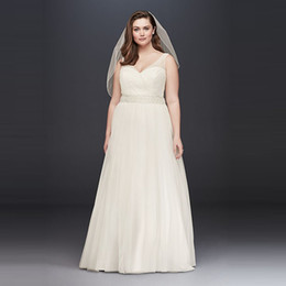 simple bead designs NZ - Simple Design A Line Pleated Wedding Dress Plus Size For Sale V-neck Straps Tulle Gowns For Wedding ADPW008