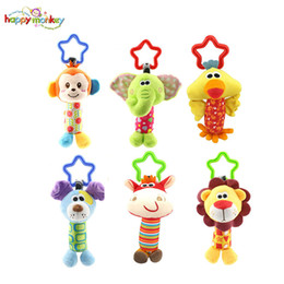 monkey beds 2019 - Wholesale- 6 style Happy Monkey Newborn Infant Baby Soft Rattle Toys Tinkle Hand Bell For Tots Plush Mobiles In Baby Bed