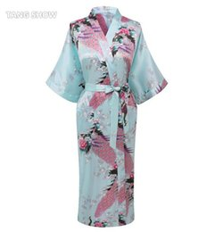 2018 xxl red chinese robe Wholesale- Hot Sale Light Blue Ladies Robe Kimono  Sexy Summer 28d69e9f5
