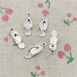 $enCountryForm.capitalKeyWord Australia - 144pcs Charms slipper flip flops 21*7mm Tibetan Silver Vintage Pendants For Jewelry Making DIY Bracelet Necklace