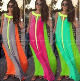 Barato Vestidos Baratos Sundresses Maxi-50pcs Casual Dresses Brilhante Cor Patchwork sem mangas Sundress Big Skirt Loose Vestido longo Cheap Women Maxi Dresses