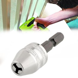 "Tools Drills Adapter Canada - DHL 50PCS Quality 6mm 1 4"" Keyless Drill Chuck Adapter Silver Brick Rotary Tools Drill"