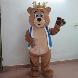 $enCountryForm.capitalKeyWord Canada - sm0511 100% real photos of brown bear mascot costume with crown for adult to wear for sale