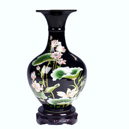 glaze ceramics UK - Unique Vase Jingdezhen Ceramic Vase Mirror Black Glaze With Lotus Pattern Famille-Rose Porcelain Vase Gift or Decoration for Home or Room