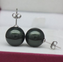 south sea shell pearl beads NZ - Luxurious 12mm south sea black perfect circle shell beads pearl earrings ZFE-202